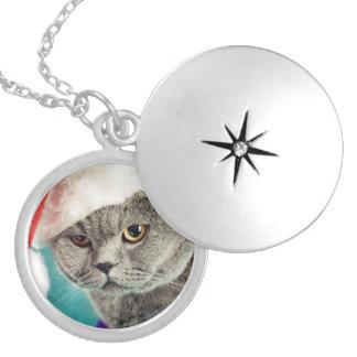 Graues Katzenweihnachten - Weihnachtskatze - Medaillon