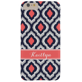 Graues Koralle und Marine Ikat Barely There iPhone 6 Plus Hülle