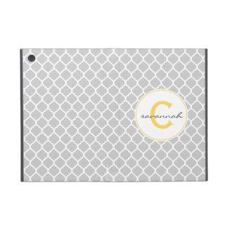 Graues Quatrefoil Monogramm iPad Mini Hüllen
