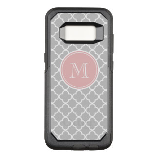 Graues Quatrefoil Muster, rosa Monogramm OtterBox Commuter Samsung Galaxy S8 Hülle