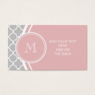 Graues Quatrefoil Muster, rosa Monogramm Visitenkarte
