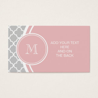 Graues Quatrefoil Muster, rosa Monogramm Visitenkarten