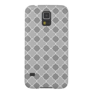Graues Quatrefoil Muster Samsungs Galaxy S5 Hüllen