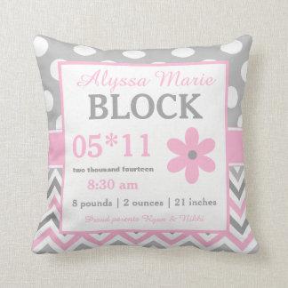 Graues rosa Blumen-Baby-Mitteilungs-Kissen Zierkissen