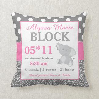 Graues rosa Elefant-Baby-Mitteilungs-Kissen Kissen