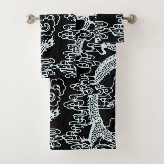 Graues schwarzes chinesisches Drache-Muster Badhandtuch Set