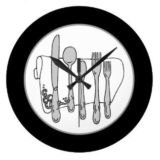 Graues Tafelsilber-weiße Serviette keine Zahl-Uhr Große Wanduhr