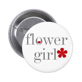 Graues Text-Blumen-Mädchen Runder Button 5,7 Cm