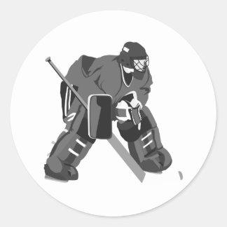Graues Tormann-Hockey Runder Aufkleber