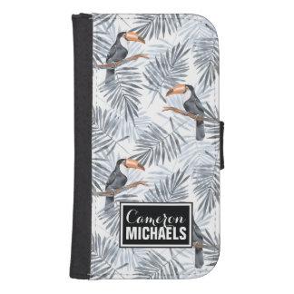 Graues Toucan   addieren Ihren Namen Galaxy S4 Geldbeutel Hülle