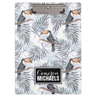Graues Toucan | addieren Ihren Namen Klemmbrett