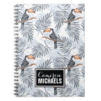 Graues Toucan | addieren Ihren Namen Notizblock