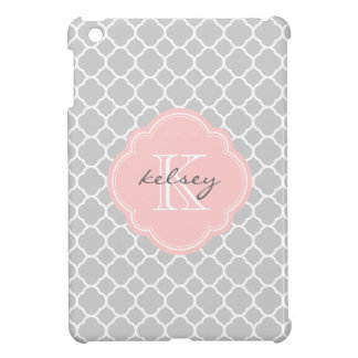 Graues u. rosa modernes Quatrefoil Gewohnheits-Mon Hülle Für iPad Mini