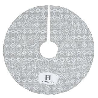 Graues u. weißes Strickjacke-Muster-Monogramm Polyester Weihnachtsbaumdecke