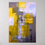 Graues und gelbes abstraktes Kunst-Plakat