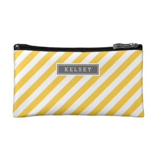 Graues und gelbes adrettes Streifen-Monogramm Makeup-Tasche