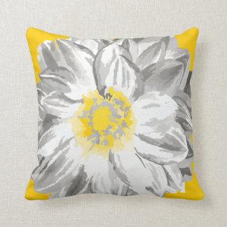 Graues und gelbes Vintages gemaltes Blumen-Kissen Kissen
