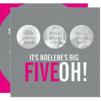 Graues und rosa 50. FIVEOH! Fotogeburtstag laden Quadratische 13,3 Cm Einladungskarte