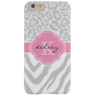 Graues und rosa Tierdruck-Gewohnheits-Monogramm Barely There iPhone 6 Plus Hülle