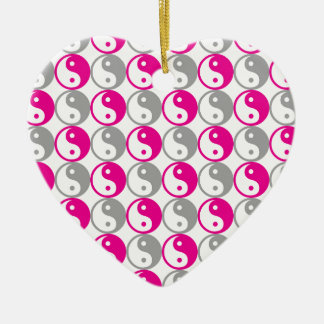 Graues und rosa yin Yang-Muster Keramik Herz-Ornament