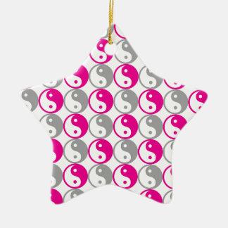 Graues und rosa yin Yang-Muster Keramik Stern-Ornament