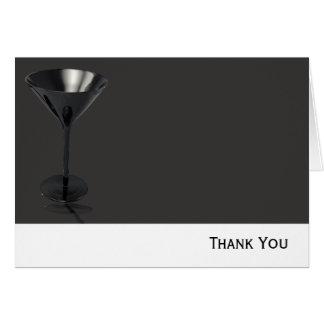 Graues und schwarzes Martini-Glas-Geschäft Karte