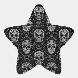 Graues und schwarzes Zuckerschädel-Muster Sternaufkleber