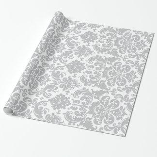 Graues und weißes elegantes Damast-Muster Geschenkpapier