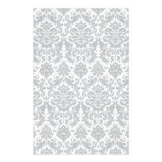 Graues und weißes elegantes Damast-Muster Individuelle Druckpapiere