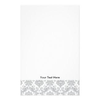 Graues und weißes elegantes Damast-Muster Individuelles Büropapier