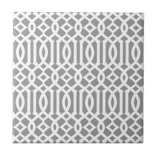 Graues und weißes modernes Gitter-Muster Fliese