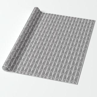 Graues und weißes Vintages Deko-Fan-Muster Geschenkpapier