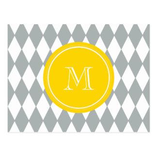 Graues Weiß-Harlekin-Muster, gelbes Monogramm Postkarte