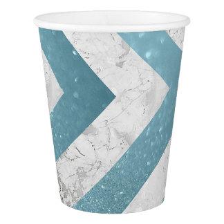 Graues Weiß-Marmor-blaues Glitter-Wassergold Pappbecher