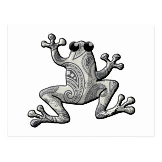 Graues Weiß-Paisley-Frosch Postkarte