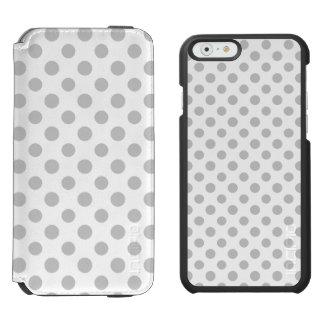 Graues Weiß-Tupfen-Muster Incipio Watson™ iPhone 6 Geldbörsen Hülle