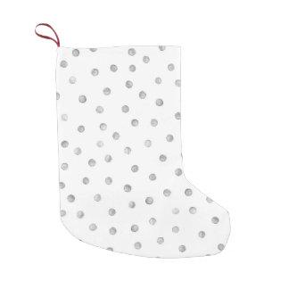 Graues Weißconfetti-Punkt-Muster Kleiner Weihnachtsstrumpf