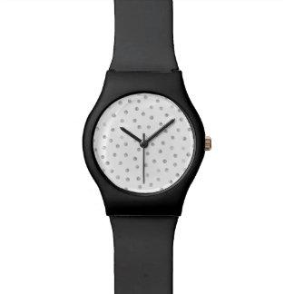 Graues Weißconfetti-Punkt-Muster Uhr