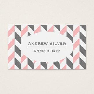 Graues, weißes und rosa Zickzack, Zickzack-Muster Visitenkarte