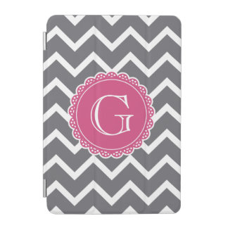 Graues Zickzack rosa Monogramm iPad Mini Cover