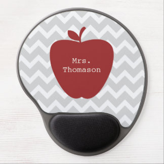 Graues Zickzack rotes Apple-Lehrer-Gel Mousepad