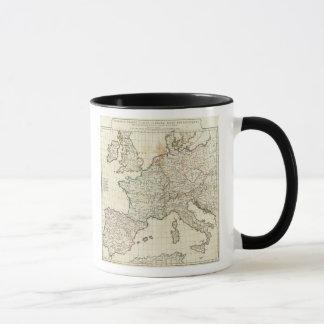 Gravierte Karte von Europa Tasse