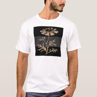 Gravierte schwarze mit Blumenschönheit des Goldn T-Shirt