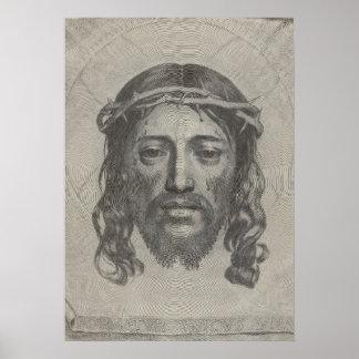 Graviertes Gesicht des Jesus Christus durch Claude Plakat