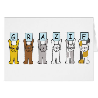 Grazie, italienischer Dank, mit Katzen Karte