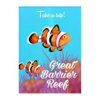 Great Barrier Reef Clownfisch-Cartoonplakat Acryldruck