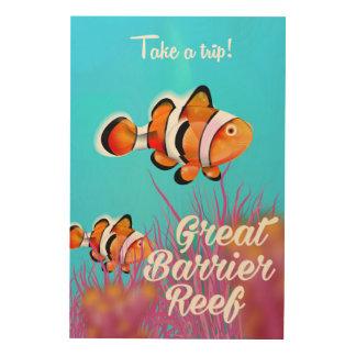 Great Barrier Reef Clownfisch-Cartoonplakat Holzwanddeko