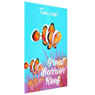 Great Barrier Reef Clownfisch-Cartoonplakat Leinwanddruck