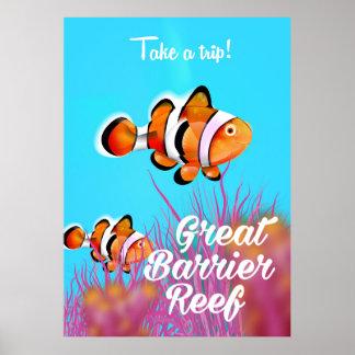 Great Barrier Reef Clownfisch-Cartoonplakat Poster