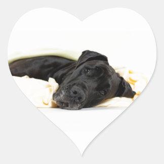 Great Dane - black / Deutsche Dogge - schwarz Herz-Aufkleber
